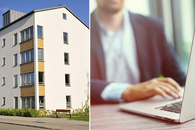 En bild på lägenhetshus och man framför datorn