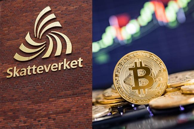 En bild på Skatteverkets logga och bitcoin