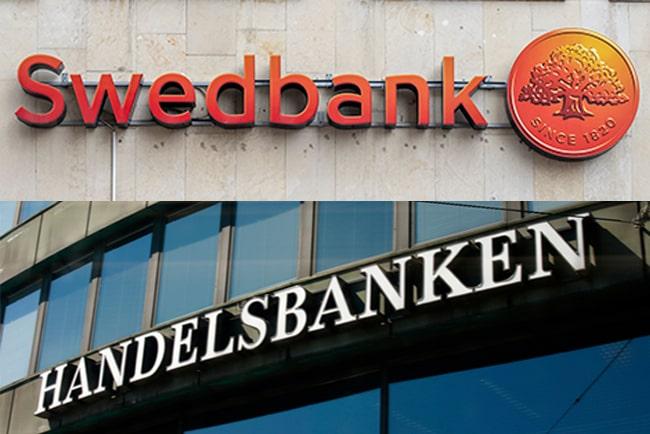 En bild på Swedbank och Handelsbankens loggor