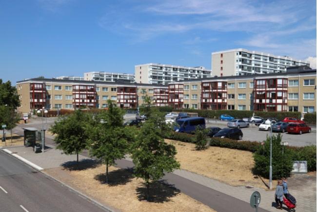 En bild på lägenhetshus i Rosengård