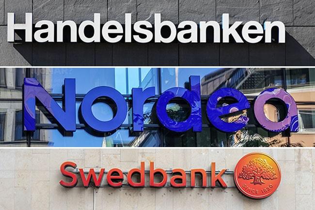 En bild på Swedbanks, Handelsbankens och Nordeas loggor
