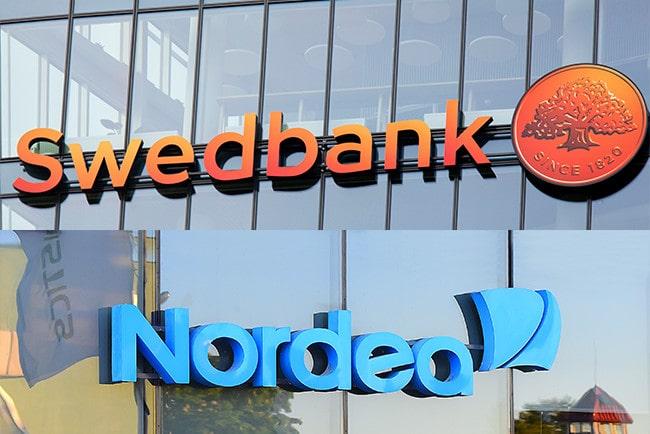 Kollage fasadbild på Sedbanks och Nordeas kontor med deras loggor