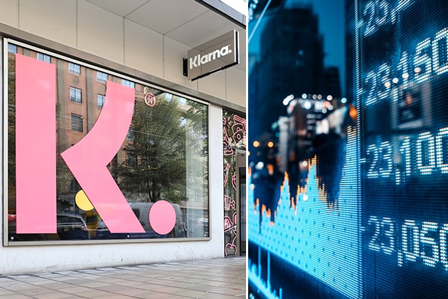 Kollage med Klarnas logga utanför huvudkontoret och siffror på börsen