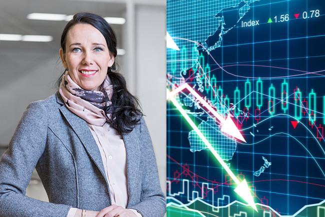 Kollage Nordeas chefsekonom Annika Winsth och graf med pilar som visar på nedgång i ekonomin.