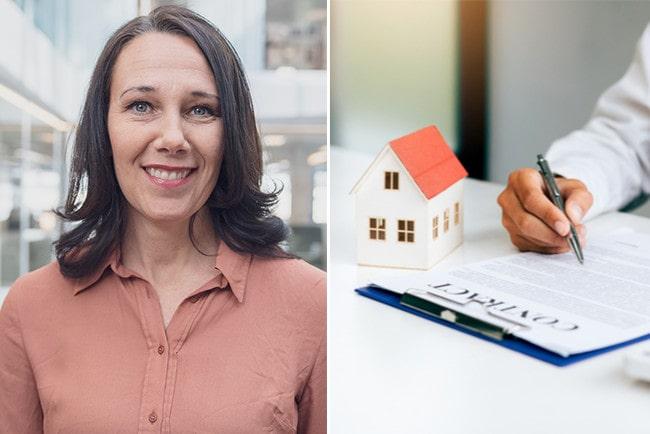 Kollage Nordeas chefsekonom, Annika Winsth och en mans hand som skriver på ett huskontrakt