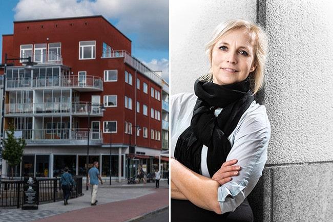 Kollage lägenheter med röd fasad och Alexandra Stråberg chefsekonom på Länsförsäkringar