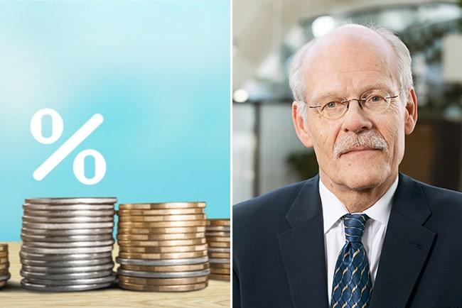kollage myntstaplar med ett procenttecken ovan och Stefan Ingves, Riksbankschef.