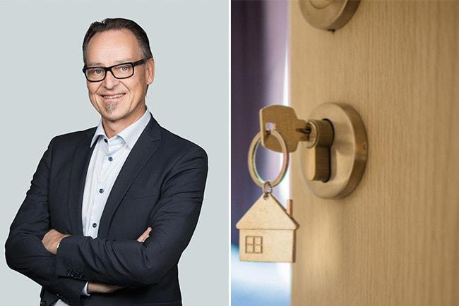 Kollage Danske Banks chefsekonom Michael Grahn och en nyckel som sitter i ett nyckelhål på en dörr