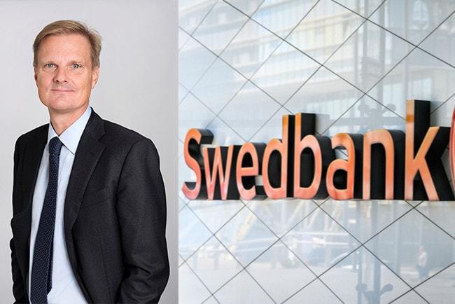 Kollage Swedbanks vd Jens Henriksson och Swedbanks logga på grå vägg