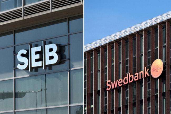 Kollage med två fasader. Ena med SEB:s logga och den andra med Swedbanks logga.