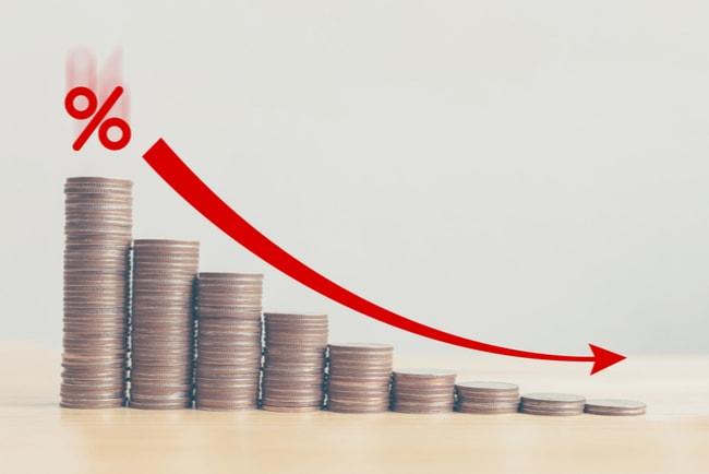 Myntstaplar i minskande storlek och en röd pil ovan med ett procenttecken som visar att staplarna minskar.