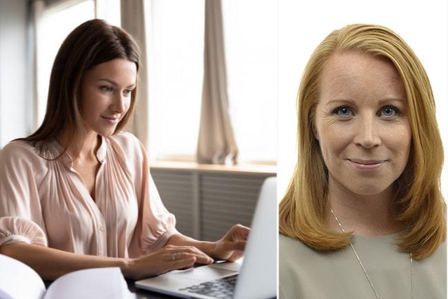 Kvinna jobbar hemma med eget företag, och Annie Lööf, partiledare för Centerpartiet