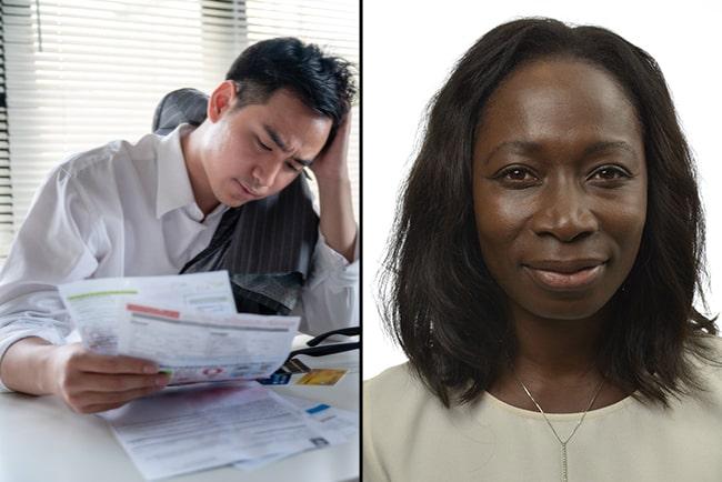 stressad företagare med räkningar i handen, och Nyamko Sabuni, partiledare för Liberalerna
