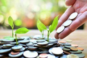 Hand som häller ut mynt och små gröna skott som sticker upp från mynten.