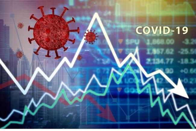 Illustration coronavirus och en pil som visar en ojämn och nu nedåtgående utveckling.