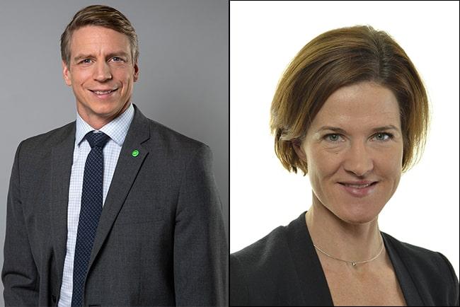 per bolund, finansmarknadsminister, och anna kinberg batra, tidigare riksdagsledamot
