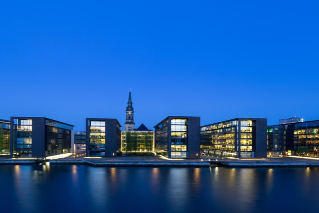 Panoramavy över hamnen i Danmark och den danska kyrkan Christioan och nordeas bankkontor.