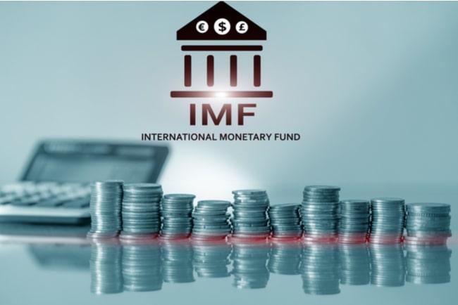 Myntstaplar och en miniräknare i bakgrunden och IMF:s logga ovan.