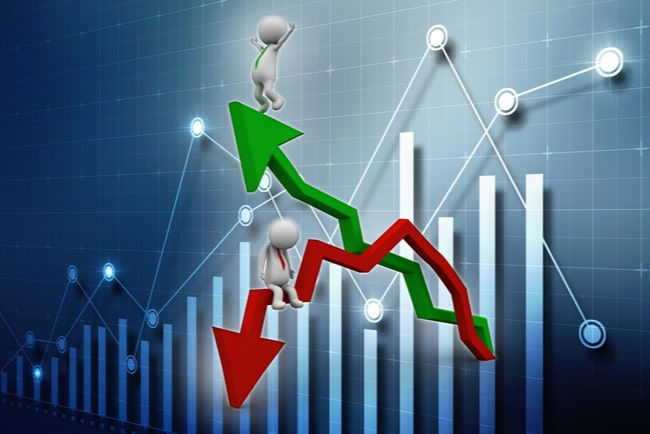 Illustration diagram med rödpil som visar nedgång och grön pil som visar uppgång.